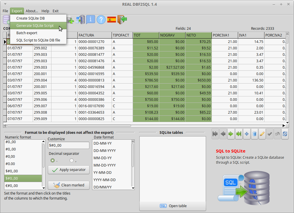 REAL DBF2SQL Screenshot 9