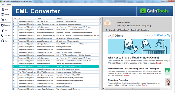 GainTools EML Converter Screenshot