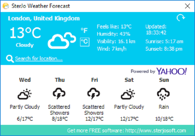 SterJo Weather Forecast Screenshot