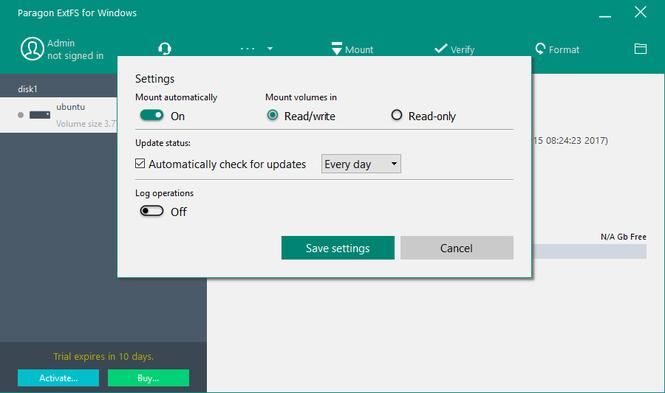Paragon ExtFS for Windows Screenshot 2