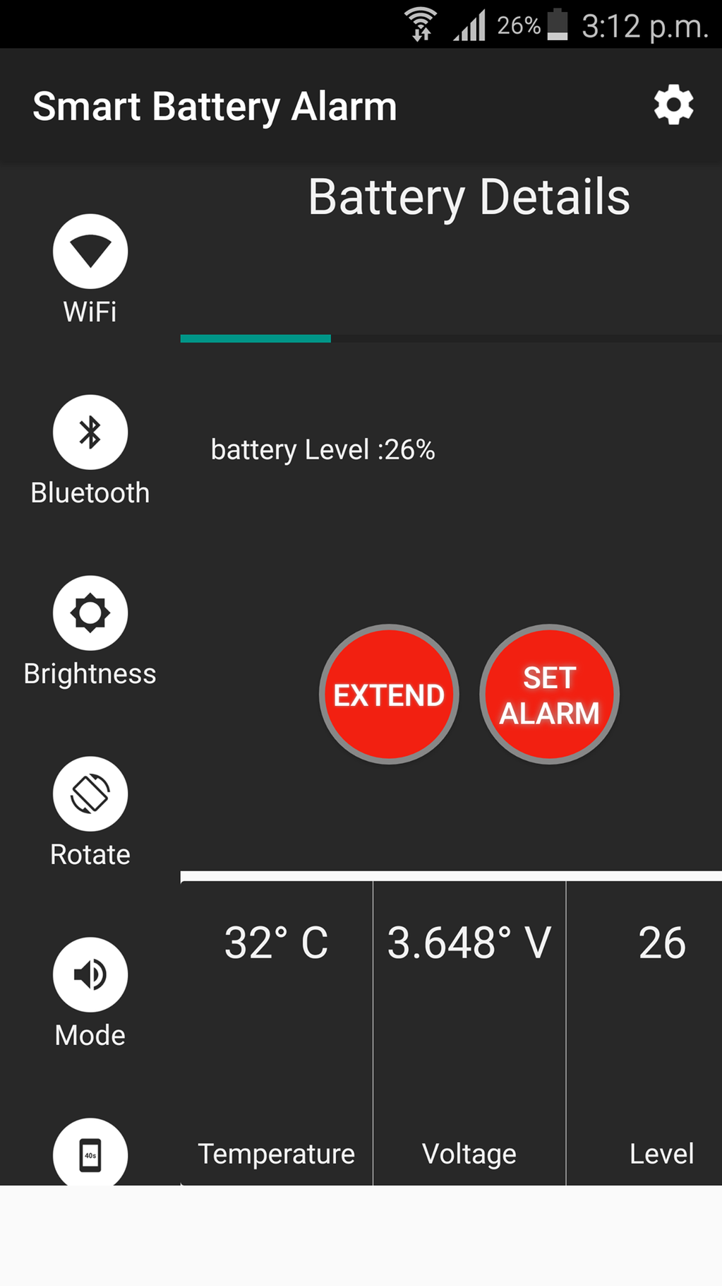 Smart Battery Charger Alarm Screenshot 1