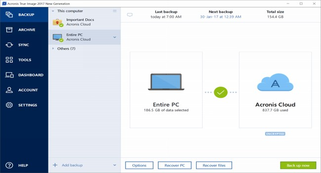 Acronis True Image New Generation Screenshot