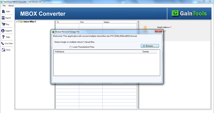 GainTools MBOX to MSG Converter Screenshot 1