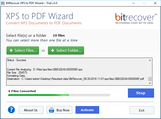 XPS to PDF Wizard Screenshot 2