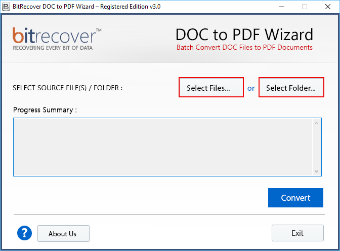 DOC to PDF Wizard Screenshot 1