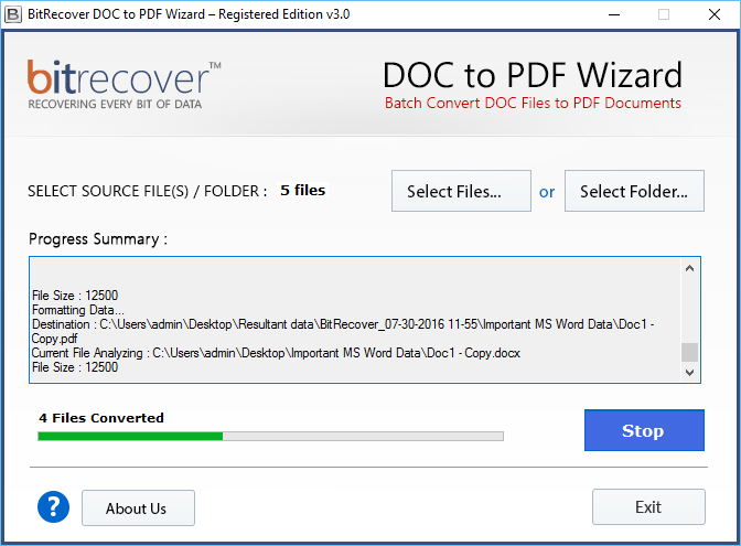 DOC to PDF Wizard Screenshot 3