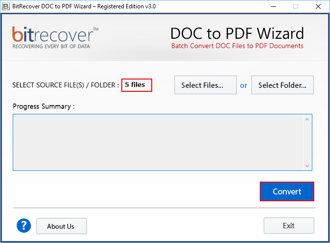 DOC to PDF Wizard Screenshot 2