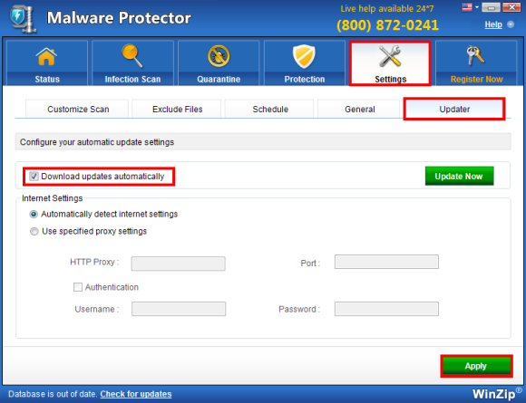 WinZip Malware Protector Screenshot 2