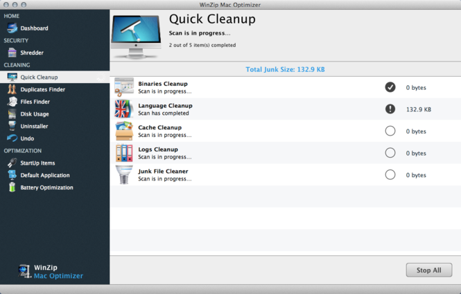 WinZip Mac Optimizer Screenshot