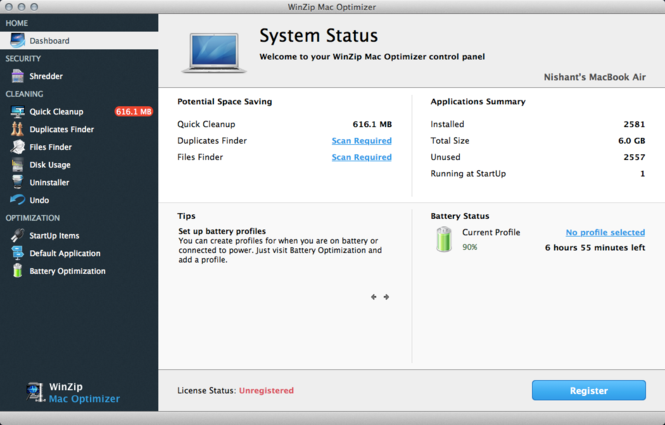 WinZip Mac Optimizer Screenshot 4