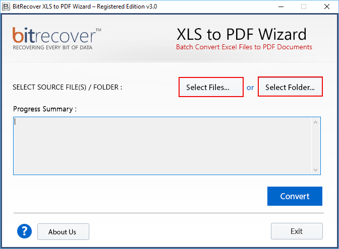 XLS to PDF Wizard Screenshot 1