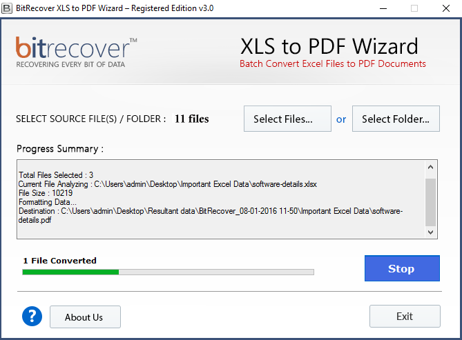 XLS to PDF Wizard Screenshot 3
