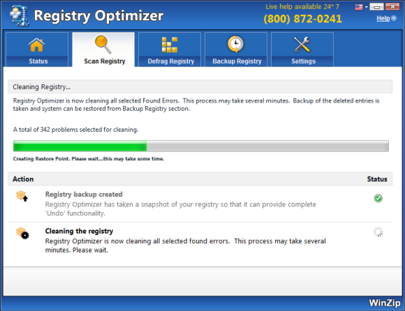 WinZip Registry Optimizer Screenshot 4