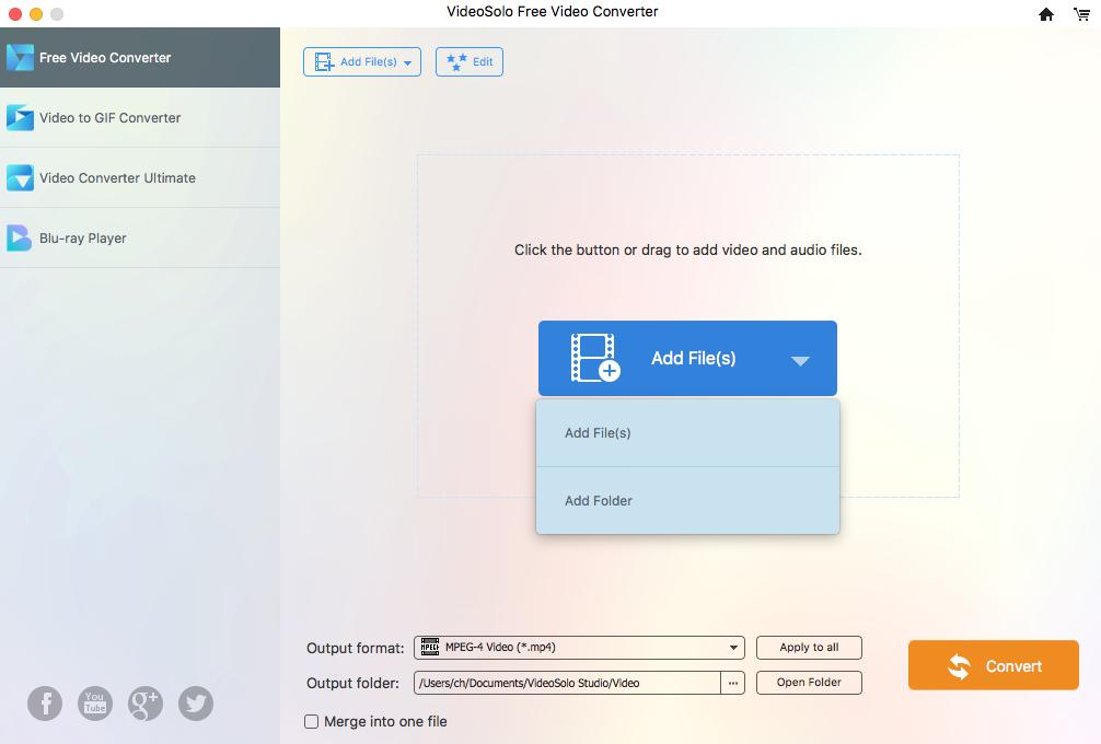 VideoSolo Free Video Converter (Mac) Screenshot 1