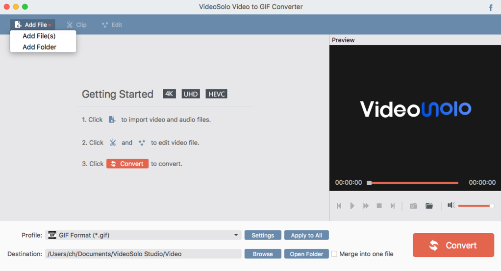 VideoSolo Video to GIF Converter (Mac) Screenshot