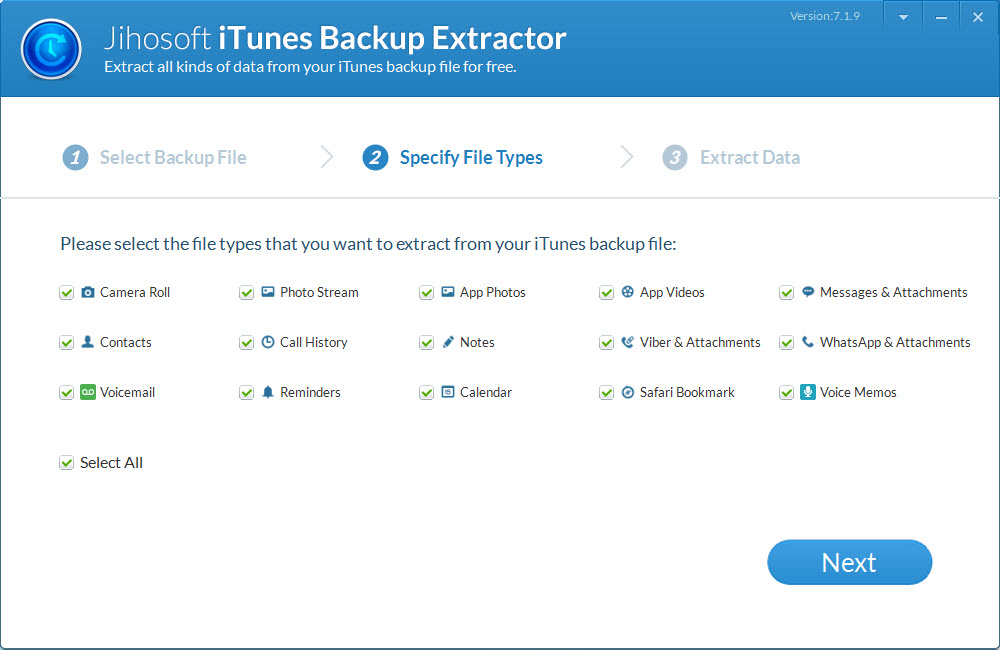 Jihosoft iPhone Backup Extractor Screenshot 2