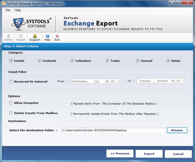 SysTools Exchange Export Screenshot