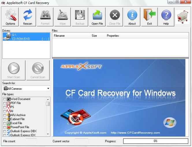 Compact Flash Card Recovery Screenshot