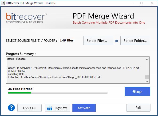 PDF Merge Wizard Screenshot 3