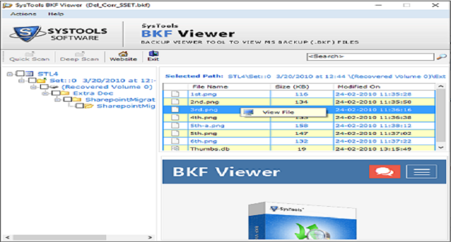 SysTools BKF Viewer Screenshot