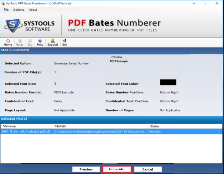 SysTools PDF Bates Numberer Screenshot 4