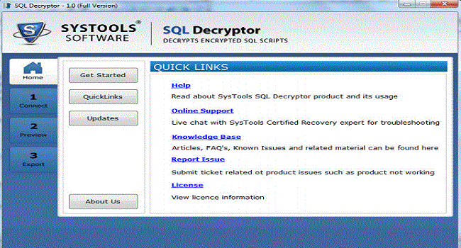 SysTools SQL Decryptor Screenshot 1