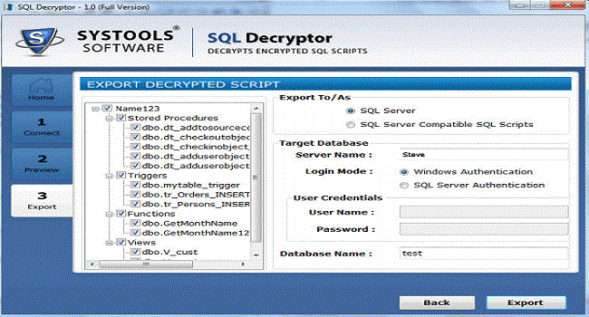 SysTools SQL Decryptor Screenshot 2