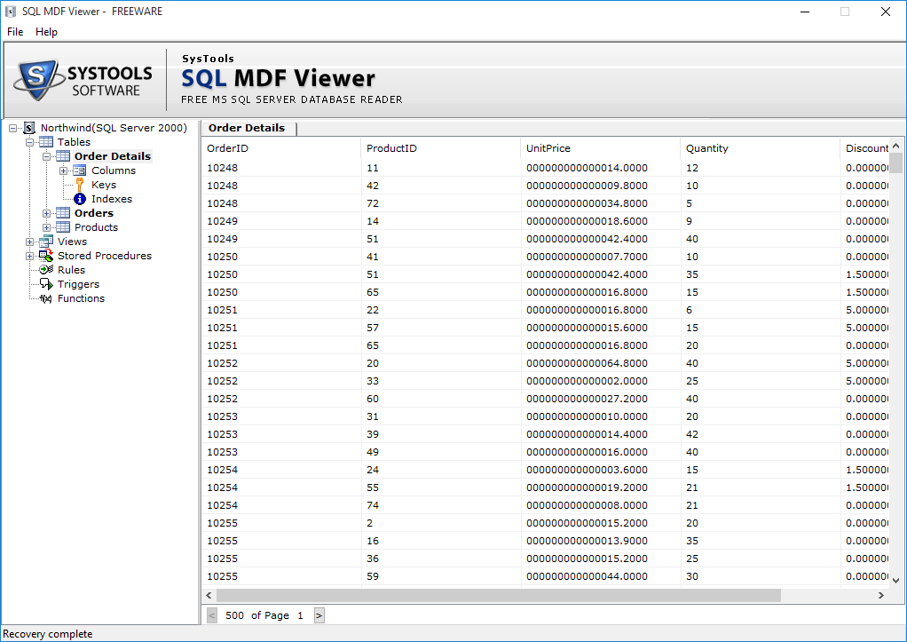 SysTools SQL MDF Viewer Screenshot 3