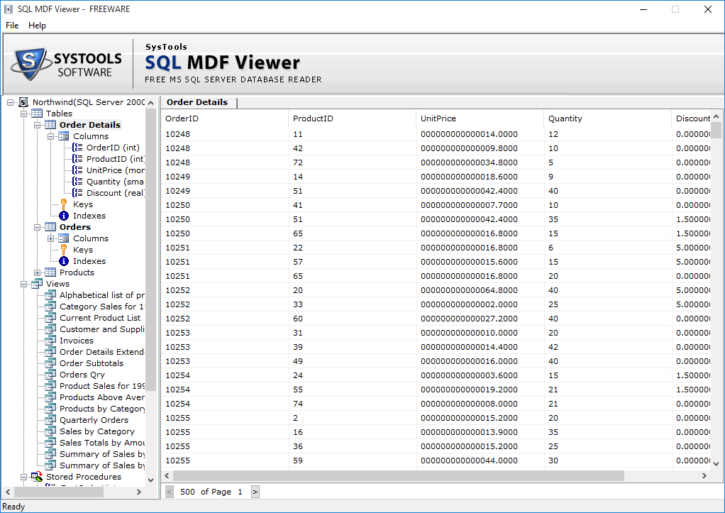 SysTools SQL MDF Viewer Screenshot 4