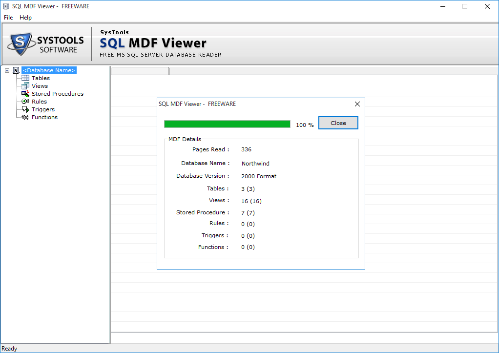 SysTools SQL MDF Viewer Screenshot 2