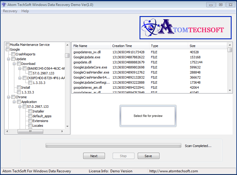 Atom TechSoft Windows Data Recovery Screenshot