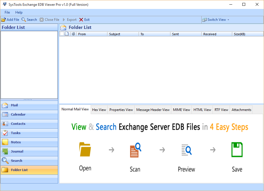 SysTools Exchange EDB Viewer Screenshot