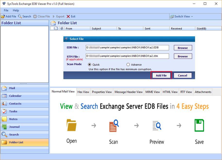 SysTools Exchange EDB Viewer Screenshot 2