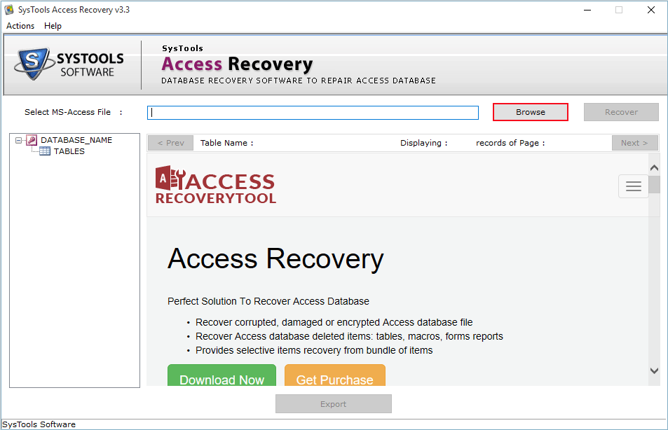 SysTools Access Recovery Screenshot