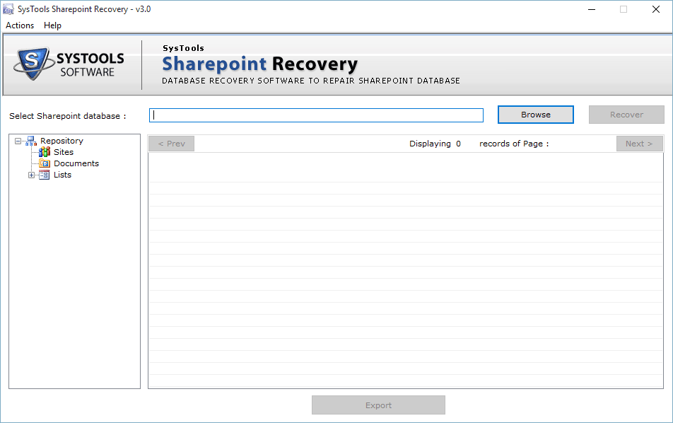 SysTools SharePoint Recovery Screenshot