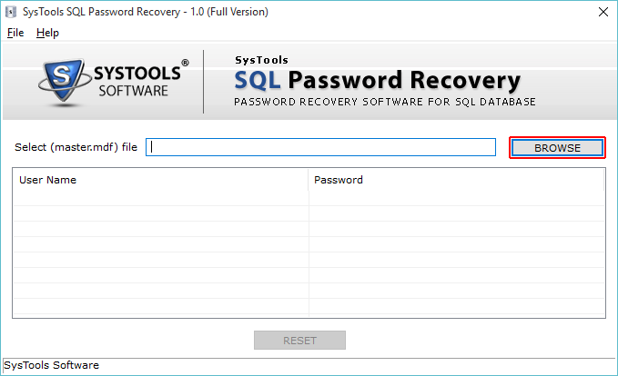 SysTools SQL Password Recovery Screenshot 2