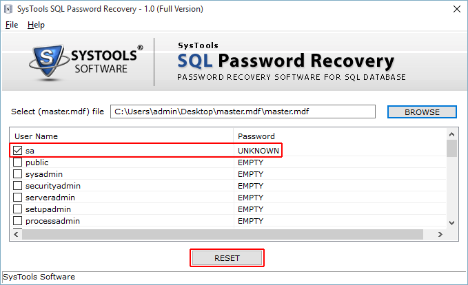 SysTools SQL Password Recovery Screenshot 3