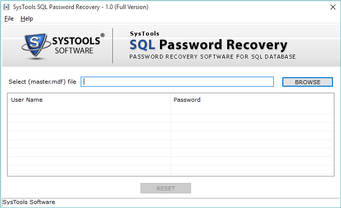 SysTools SQL Password Recovery Screenshot