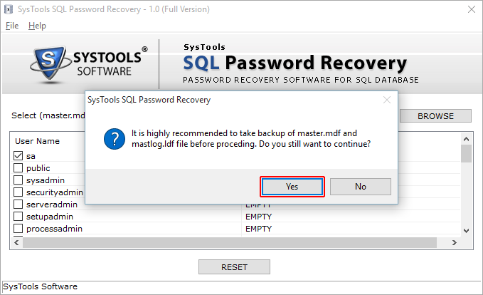 SysTools SQL Password Recovery Screenshot 4