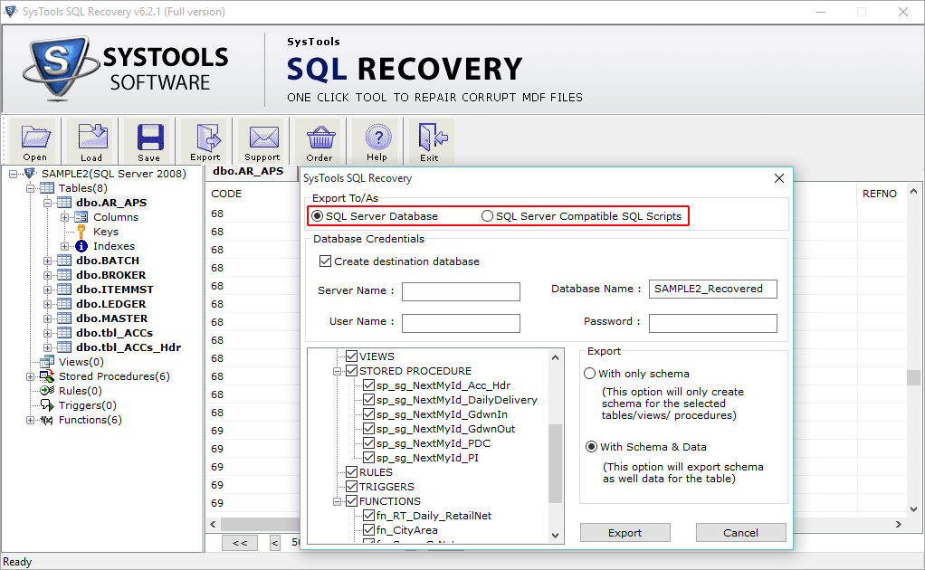SysTools SQL Recovery Screenshot 4