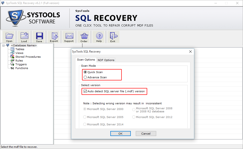 SysTools SQL Recovery Screenshot 2