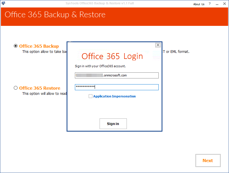 SysTools Office 365 Backup Screenshot