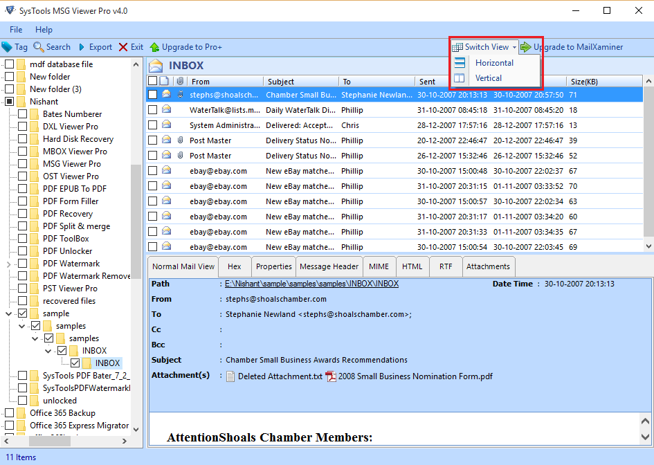 SysTools MSG Viewer Screenshot 3