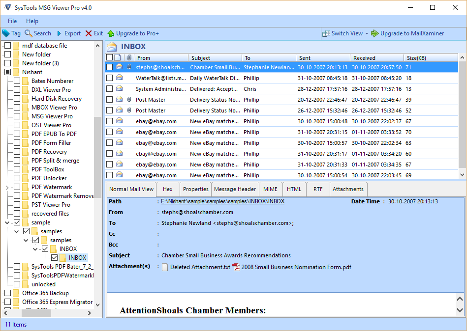 SysTools MSG Viewer Screenshot 2