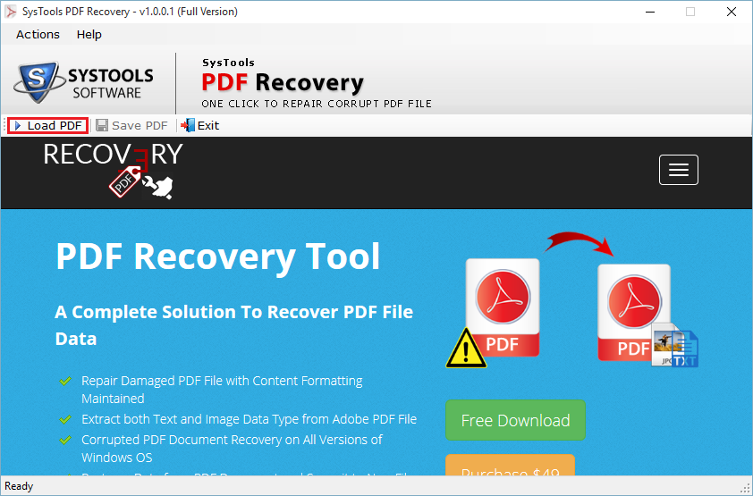 Download SysTools PDF Recovery 1.1