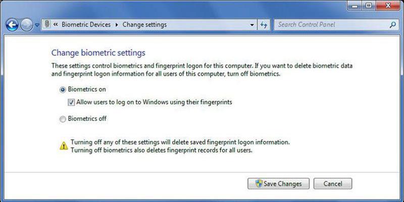 Marco Biométrico de Windows Screenshot