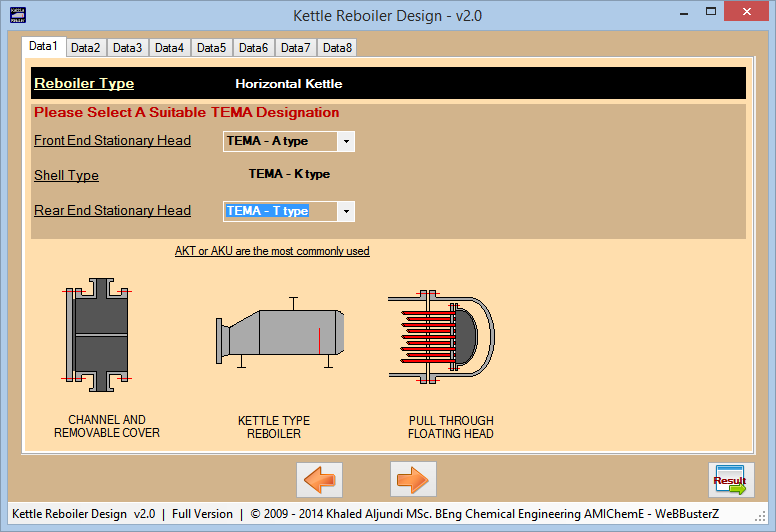 Kettle Reboiler Design Screenshot