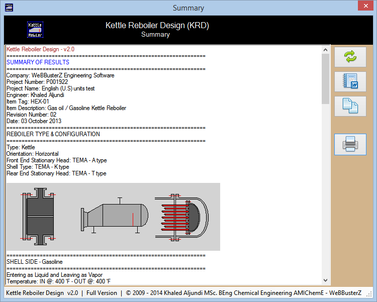 Kettle Reboiler Design Screenshot 2