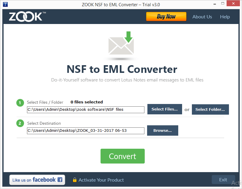 ZOOK NSF to EML Converter Screenshot 2