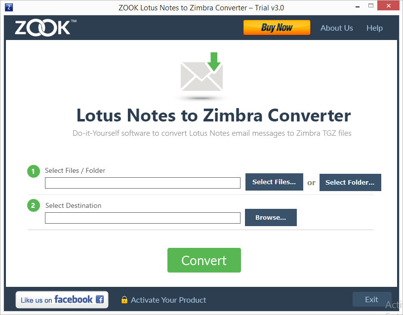 ZOOK NSF to TGZ Converter Screenshot